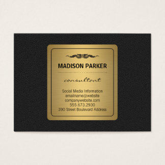 Elegant Faux Gold Label Leather Business Card