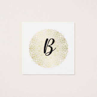 Elegant Faux Gold Lace - Calligraphy Monogram Square Business Card