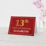 "[ Thumbnail: Elegant Faux Gold Look ""13th"" Birthday, Name (Red) Card ]"