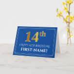 [ Thumbnail: Elegant Faux Gold Look 14th Birthday, Name (Blue) Card ]