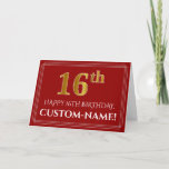 "[ Thumbnail: Elegant Faux Gold Look ""16th"" Birthday, Name (Red) Card ]"