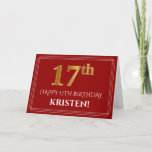 "[ Thumbnail: Elegant Faux Gold Look ""17th"" Birthday, Name (Red) Card ]"