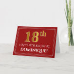 "[ Thumbnail: Elegant Faux Gold Look ""18th"" Birthday, Name (Red) Card ]"