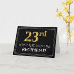 "[ Thumbnail: Elegant Faux Gold Look ""23rd"" Birthday + Name Card ]"