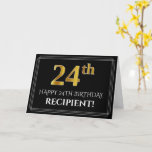 "[ Thumbnail: Elegant Faux Gold Look ""24th"" Birthday + Name Card ]"