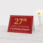 """[ Thumbnail: Elegant Faux Gold Look """"27th"""" Birthday, Name (Red) Card ]"""