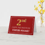 "[ Thumbnail: Elegant Faux Gold Look ""2nd"" Birthday, Name (Red) Card ]"