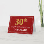 """[ Thumbnail: Elegant Faux Gold Look """"30th"""" Birthday, Name (Red) Card ]"""