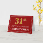 """[ Thumbnail: Elegant Faux Gold Look """"31st"""" Birthday, Name (Red) Card ]"""