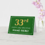 [ Thumbnail: Elegant Faux Gold Look 33rd Birthday, Name (Green) Card ]
