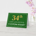 [ Thumbnail: Elegant Faux Gold Look 34th Birthday, Name (Green) Card ]