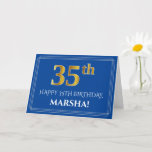 [ Thumbnail: Elegant Faux Gold Look 35th Birthday, Name (Blue) Card ]