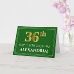 [ Thumbnail: Elegant Faux Gold Look 36th Birthday, Name (Green) Card ]