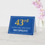 [ Thumbnail: Elegant Faux Gold Look 43rd Birthday, Name (Blue) Card ]