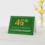 [ Thumbnail: Elegant Faux Gold Look 46th Birthday, Name (Green) Card ]