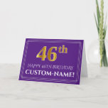 [ Thumbnail: Elegant Faux Gold Look 46th Birthday, Name; Purple Card ]