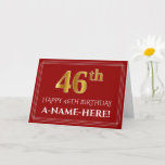 "[ Thumbnail: Elegant Faux Gold Look ""46th"" Birthday, Name (Red) Card ]"