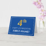 [ Thumbnail: Elegant Faux Gold Look 4th Birthday, Name (Blue) Card ]