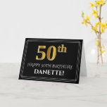 "[ Thumbnail: Elegant Faux Gold Look ""50th"" Birthday + Name Card ]"
