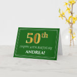 [ Thumbnail: Elegant Faux Gold Look 50th Birthday, Name (Green) Card ]