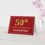 "[ Thumbnail: Elegant Faux Gold Look ""50th"" Birthday, Name (Red) Card ]"