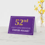 [ Thumbnail: Elegant Faux Gold Look 52nd Birthday, Name; Purple Card ]