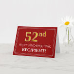 "[ Thumbnail: Elegant Faux Gold Look ""52nd"" Birthday, Name (Red) Card ]"