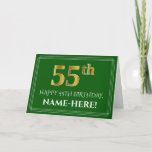 [ Thumbnail: Elegant Faux Gold Look 55th Birthday, Name (Green) Card ]