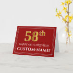 """[ Thumbnail: Elegant Faux Gold Look """"58th"""" Birthday, Name (Red) Card ]"""