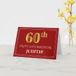 """[ Thumbnail: Elegant Faux Gold Look """"60th"""" Birthday, Name (Red) Card ]"""