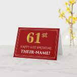 """[ Thumbnail: Elegant Faux Gold Look """"61st"""" Birthday, Name (Red) Card ]"""