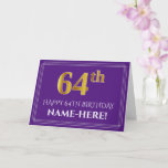 [ Thumbnail: Elegant Faux Gold Look 64th Birthday, Name; Purple Card ]