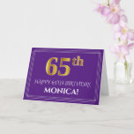 [ Thumbnail: Elegant Faux Gold Look 65th Birthday, Name; Purple Card ]