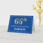 [ Thumbnail: Elegant Faux Gold Look 66th Birthday, Name (Blue) Card ]