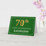 [ Thumbnail: Elegant Faux Gold Look 70th Birthday, Name (Green) Card ]