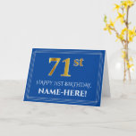 [ Thumbnail: Elegant Faux Gold Look 71st Birthday, Name (Blue) Card ]