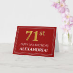 "[ Thumbnail: Elegant Faux Gold Look ""71st"" Birthday, Name (Red) Card ]"