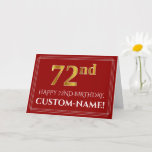 "[ Thumbnail: Elegant Faux Gold Look ""72nd"" Birthday, Name (Red) Card ]"