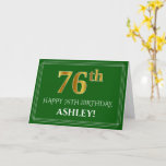 [ Thumbnail: Elegant Faux Gold Look 76th Birthday, Name (Green) Card ]