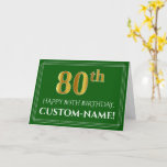 [ Thumbnail: Elegant Faux Gold Look 80th Birthday, Name (Green) Card ]