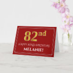 "[ Thumbnail: Elegant Faux Gold Look ""82nd"" Birthday, Name (Red) Card ]"