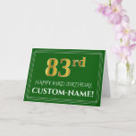 [ Thumbnail: Elegant Faux Gold Look 83rd Birthday, Name (Green) Card ]