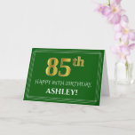 [ Thumbnail: Elegant Faux Gold Look 85th Birthday, Name (Green) Card ]