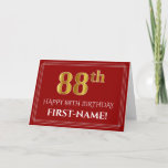 "[ Thumbnail: Elegant Faux Gold Look ""88th"" Birthday, Name (Red) Card ]"