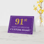 [ Thumbnail: Elegant Faux Gold Look 91st Birthday, Name; Purple Card ]