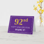[ Thumbnail: Elegant Faux Gold Look 92nd Birthday, Name; Purple Card ]