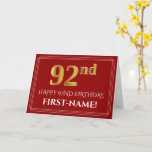 "[ Thumbnail: Elegant Faux Gold Look ""92nd"" Birthday, Name (Red) Card ]"