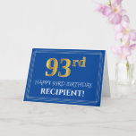 [ Thumbnail: Elegant Faux Gold Look 93rd Birthday, Name (Blue) Card ]