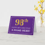 [ Thumbnail: Elegant Faux Gold Look 98th Birthday, Name; Purple Card ]