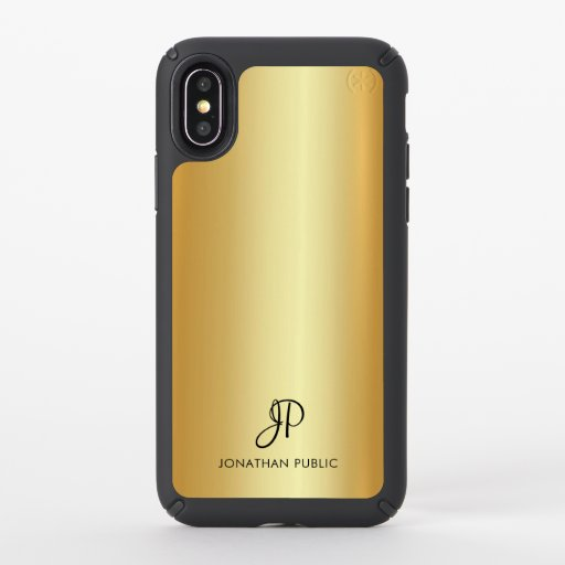 Elegant Faux Gold Modern Monogram Name Template Speck iPhone X Case